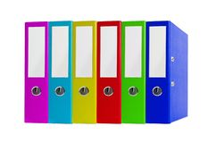 Colorful office folders isolated on white Royalty Free Stock Images