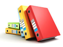 Colorful office folders or ring binders on white. 3d Royalty Free Stock Image