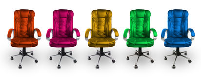 Colorful Office Leather Chairs - Red, Pink, Yellow, Green and Blue Royalty Free Stock Photography