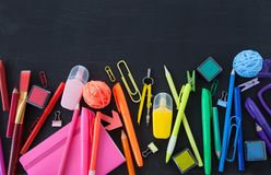Colorful office / school supplies royalty free stock photography