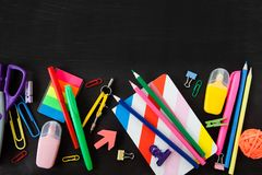 Colorful office / school supplies stock photography