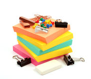 Colorful office supplies on white background Royalty Free Stock Photography