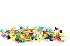 Colorful office supplies in white background stock images