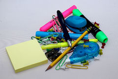 Colorful office supplies Stock Photos