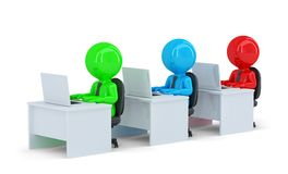 Colorful office workers. Isolated. Contains clipping path Stock Photos