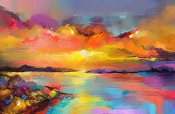 Impressionism image of seascape paintings with sunlight background. Colorful oil painting on canvas texture. Impressionism image of seascape paintings with royalty free illustration