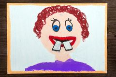 Colorful drawing: malocclusion. Colorful oil pastels crayon drawing: malocclusion Stock Images