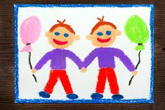 Colorful drawing: Smiling twin brothers Royalty Free Stock Photos