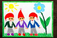 Colorful drawing: three smiling dwarfs in red hats Stock Photography