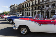 Colorful old american cars in habana cuba. Colorful old american cars in line in Habana Cuba Stock Photos