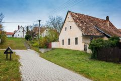 Colorful old Anabaptist houses in Velke Levare Slovakia stock photo