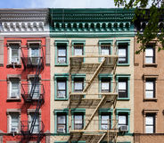 Colorful Old Apartment buildings in New York City Royalty Free Stock Photos