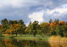 Colorful old autumn park stock photography