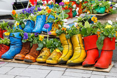 Colorful old boots used Royalty Free Stock Photos