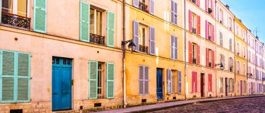 Colorful old building in Paris France. Colorful old building in Paris, France Royalty Free Stock Photography
