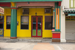 Colorful old building without people. In Singapore stock photo