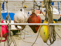 Colorful old buoys Royalty Free Stock Image