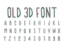 Colorful old 3D font, stereoscopic effect. Colorful old 3D font, handwritten vector illustration, blue, red black Stock Photos