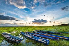 Colorful old fisher boats at the lake Stock Photography