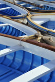 Colorful old fishing boats stock images