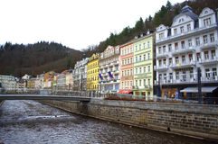 Colorful old houses Karlovy Vary Stock Photo