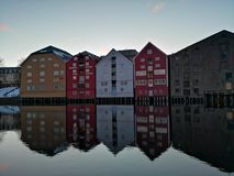 Colorful old houses at the Nidelva river embankment in Trondheim, Norway. Colorful old houses nidelva river embankment trondheim norway stock photos