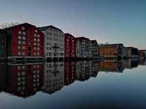 Colorful old houses at the Nidelva river embankment in Trondheim, Norway. Colorful old houses nidelva river embankment trondheim norway stock images