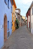 Colorful old houses street Rimini Italy Royalty Free Stock Images