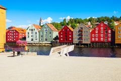 Colorful old houses, Trondheim stock images