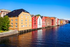 Colorful old houses, Trondheim royalty free stock photography