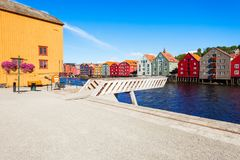 Colorful old houses, Trondheim royalty free stock image