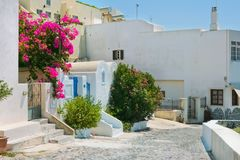 Colorful old street in Fira, Santorini Stock Image