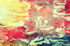 Colorful old style background, autumn leaf prints Stock Image