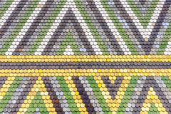 Colorful old tiles roof pattern. Triangle colorful old tiles roof pattern Royalty Free Stock Photo