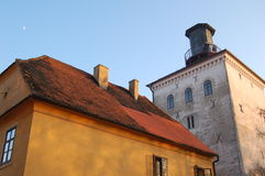 Colorful old tower. The Lotrscak Tower in the old part of Zagreb Stock Image