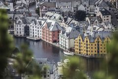 Colorful old town, Alesund, Norway, city landscape ariel view beautiful summer day Stock Photography