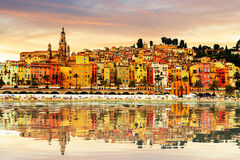 Colorful old town Menton on french Riviera Stock Images