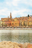 The colorful old town Menton on french Riviera Stock Photos