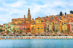 The colorful old town Menton on french Riviera Stock Image