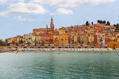 The colorful old town Menton on french Riviera Royalty Free Stock Photo
