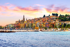 Colorful old town Menton on french Riviera. France Stock Photography