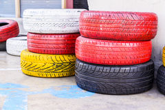 Colorful old used tires Stock Photos
