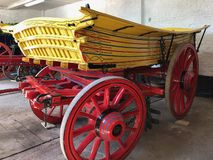 Colorful old wooden wagon stock image