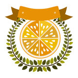 Colorful olive crown and label with half orange fruit Stock Images
