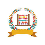 Colorful olive crown with ribbon and abacus. Vector illustration Royalty Free Stock Photography