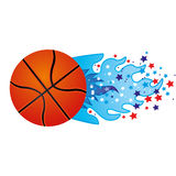 Colorful olympic flame with stars and basketball ball. Illustration Stock Photos