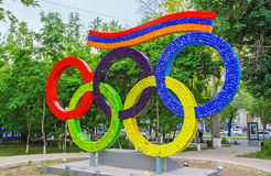 The colorful Olympic installation Royalty Free Stock Image