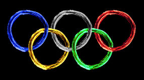 Colorful olympics fire texture. Colorful olympics symbol fire texture royalty free stock image