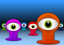Colorful One-eyed Creatures, illustration. Colorful One-eyed Creatures, Red Blue Green Purple Monsters, Big Alien Eyes, vector illustration Stock Photos