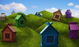 Colorful one-storey houses on the hills Stock Photo
